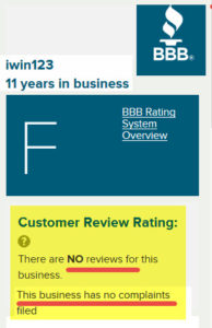 Better Business Bureau shows IWIN123 has no complaints